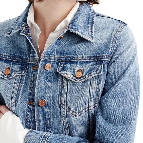 J Crew classic denim jacket distressed PXS